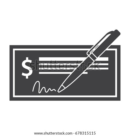 Vector illustration of bank check with golden pen and signature