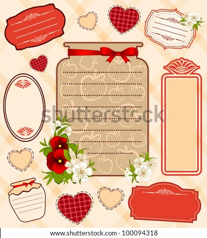 Vector illustration of banks with strawberry and flowers