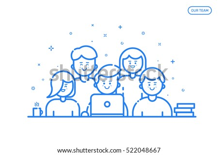 Vector illustration of banner in flat line style. Concept of our team for website and mobile website. Business cute and fun people teamwork isolated in blue outline.