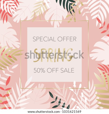 Vector illustration of banner saying Special Offer Spring 50% Off Sale in frame of tropical leaves.  #1031621569