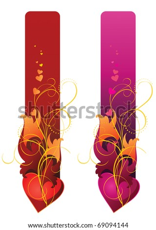 Vector illustration of banners contains heart and floral ornament - stock vector