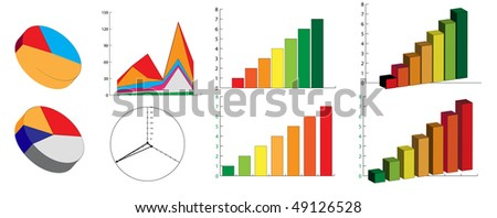 Vector illustration of bar and pie chart