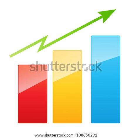 Vector illustration of bar graph with rising arrow