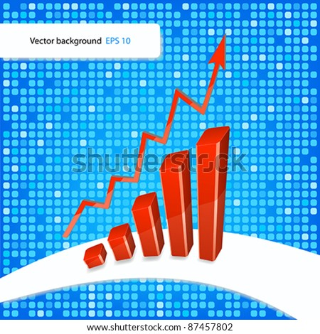 Vector illustration of bar graph with rising arrow on doted background