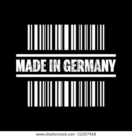 "Vector illustration of barcode icon marked ""Made in Germany"""