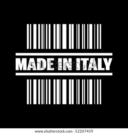 "Vector illustration of barcode icon marked ""Made in Italy"""