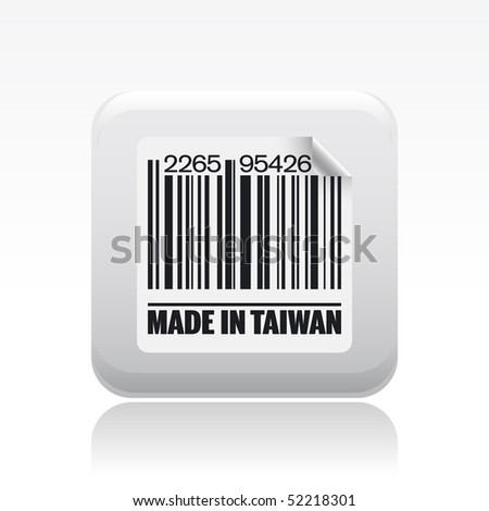"Vector illustration of barcode icon marked ""Made in Taiwan"""