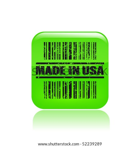 "Vector illustration of barcode icon marked ""Made in Usa"""