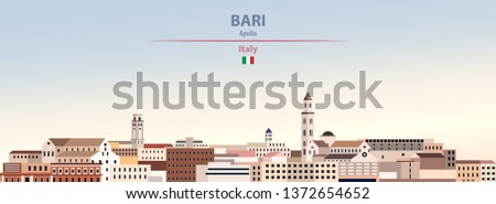 Vector illustration of Bari city skyline on colorful gradient beautiful day sky background with flag of Italy
