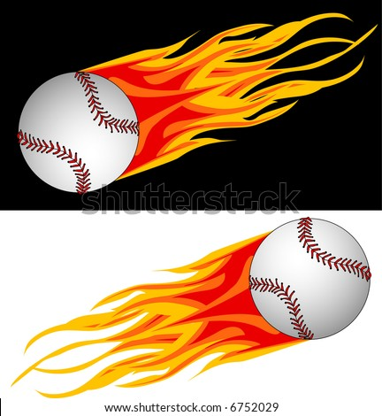 vector illustration of baseball in flame