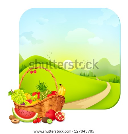 vector illustration of basket full of fresh fruit on natural landscape