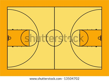 Vector illustration of basketball court.