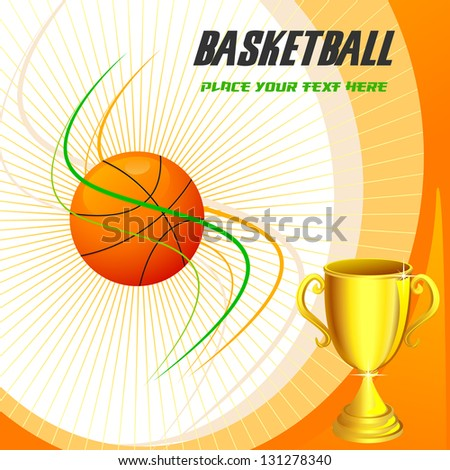 vector illustration of basketball with gold trophy