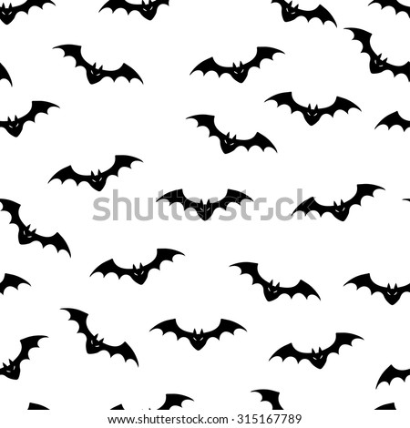 Vector illustration of bats seamless background.