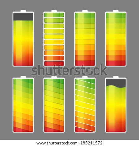 Vector illustration of battery energy meter icons.