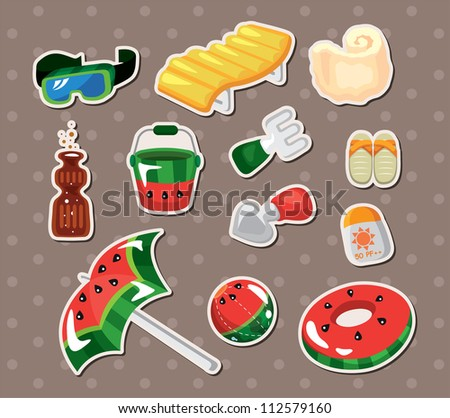 Vector illustration of beach accessories stickers