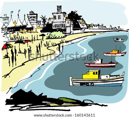 vector illustration of beach at