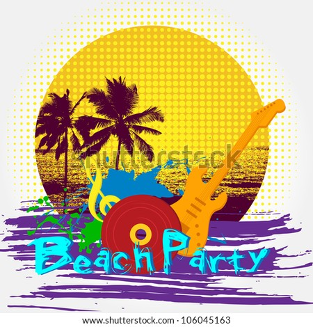 vector illustration of beach party poster with guitar and palm tree