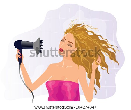 Vector illustration of beautiful blond girl with hairdryer