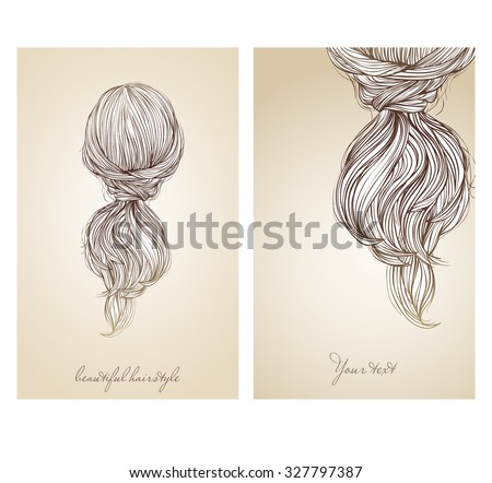 Vector Illustration Of Beautiful Female Hairstyle View From The Back Collected Hair In A
