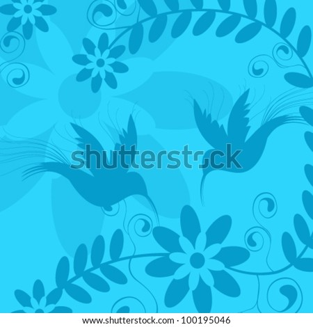 Vector illustration of beautiful floral background with Blue Bird