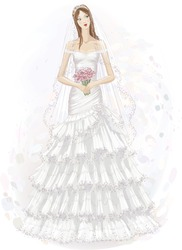 Vector illustration of beautiful girl in wedding dress