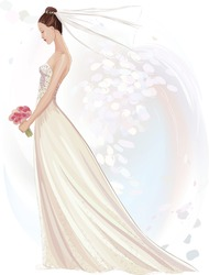 Vector illustration of beautiful girl in wedding dress in watercolor technique