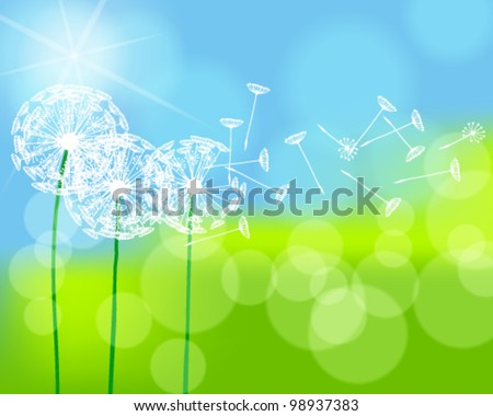 Vector illustration of beautiful green spring meadow with dandelions