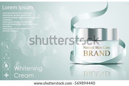 Vector illustration of Beautiful hydrating facial cream cosmetic ads with green ribbon on bubble background