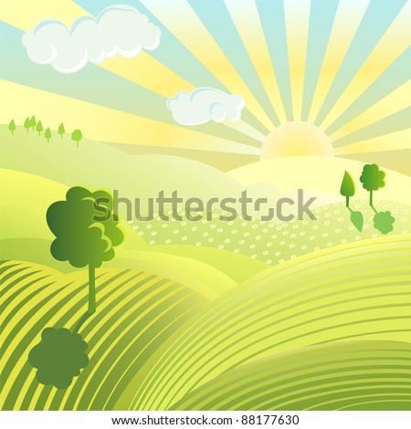 Vector illustration of beautiful landscape. Rural scene with green field and trees on sunny day