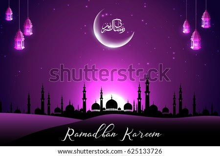Vector illustration of Beautiful mosque with crescent on purple sky background