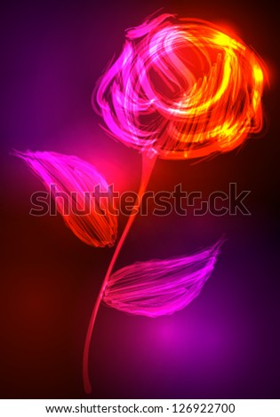 Vector illustration of beautiful rose made of colorful light