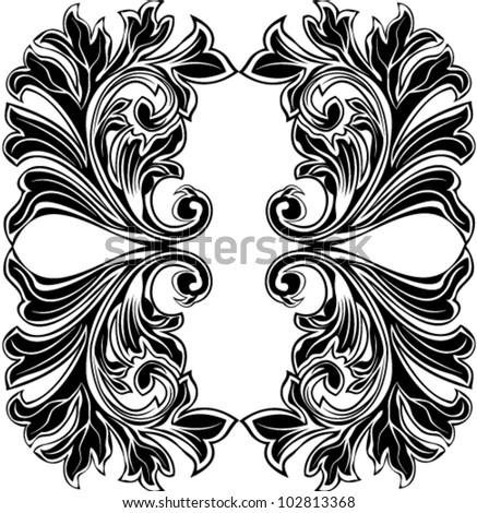 Vector illustration of beautiful stylized acanthus leaf