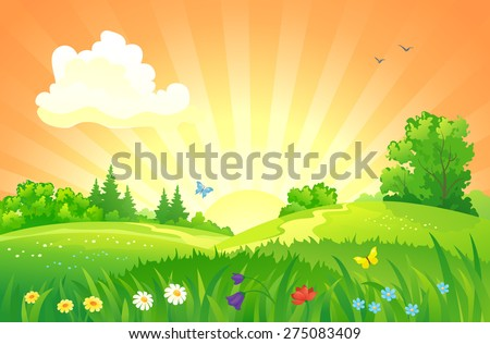 Vector illustration of beautiful summer sunset landscape #275083409