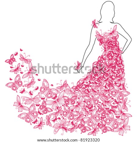 Vector illustration of beautiful summer woman with butterfly dress