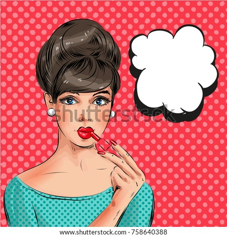 Vector illustration of beautiful woman painting her lips with red lipstick, thought bubble. Pretty pin-up girl in retro pop art comic style.