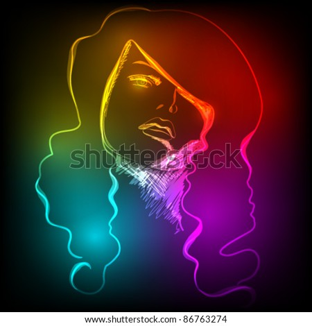 Vector illustration of beautiful woman's face made of colorful light - stock vector