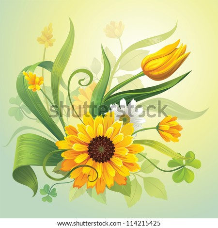 vector illustration of beautiful yellow field flowers, grass and green leaves