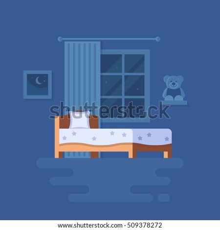 Vector illustration of bedroom interior. Clipart of bed, teddy bear on the shelf, window with the curtain and picture. Trend modern flat pseudo volume style. Night starry sky.