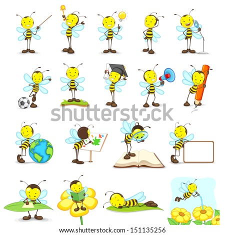vector illustration of bees doing different activities