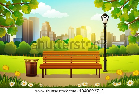 Vector illustration of bench and streetlight in city park with skyscrapers background in spring