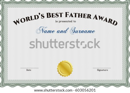 Best dad in the world background download free vector art stock vector illustration of best dad award template with complex linear background green color yadclub Gallery