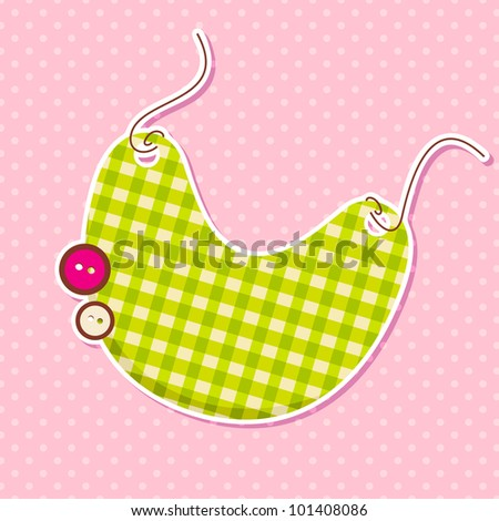 vector illustration of bib with button in baby arrival card