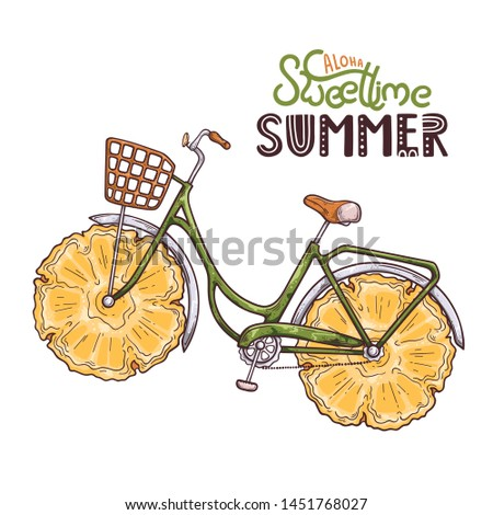 Vector illustration of bicycle with pineapple instead of wheels. Lettering: aloha sweet time summer. Isolated objects for your design. Each object can be changed and moved.