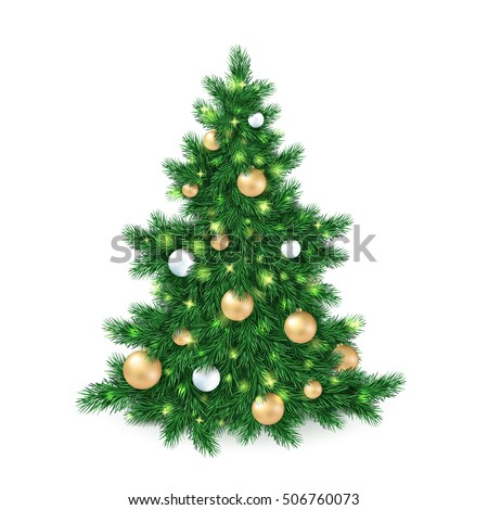vector illustration of big christmas tree, decorated white and golden christmas ornaments.