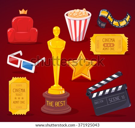 Vector illustration of big cinema objects collection on red background. Art design for web, site, advertising, banner, poster, flyer, brochure, board, paper print.