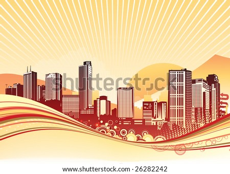 Vector illustration of Big City. Orange urban background with abstract composition of dots and curved lines.