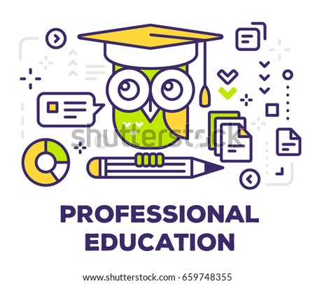 Vector illustration of big color owl with pencil and icons. Professional education concept on white background with title. Thin line art design for web, site, banner, poster, business presentation