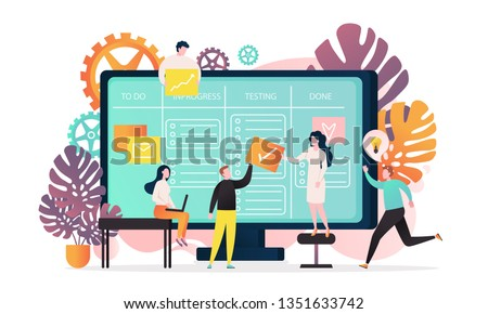 Vector illustration of big computer and programmer team moving cards on electronic kanban task board. Online kanban board app, agile visual project management method, teamwork concepts.