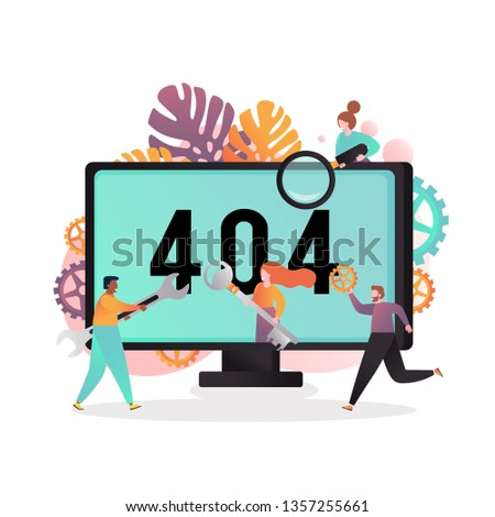 Vector illustration of big computer monitor with 404 not found error network message and characters trying to fix it. Server error, page not found concept for web banner, website page etc.
